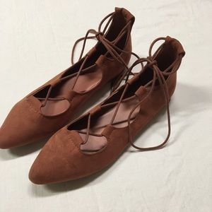 American Eagle Outfitters Burgundy Strappy Flats